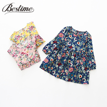 2017 Autumn Girls Dress Floral Cotton Kids Dress for Girls Full Sleeve Fall Children Dress Fashion Kids Clothes(China)