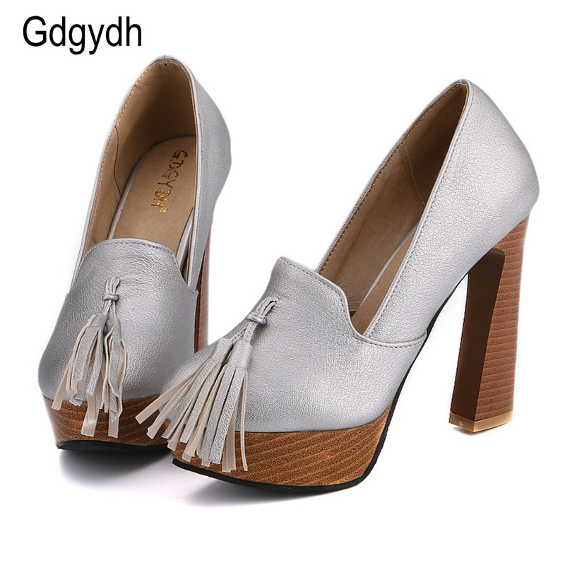 Gdgydh 2017 New Arrivals Tassel Women Shoes Round Toe Shallow Mouth Platform Female Single Shoes Strange Style High Heels Shoes <br>