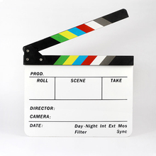 Centechia Good Sale New Colorful Clapper Board Acrylic Dry Erase Director TV Movie Film Action Slate Clap Handmade Cut Prop