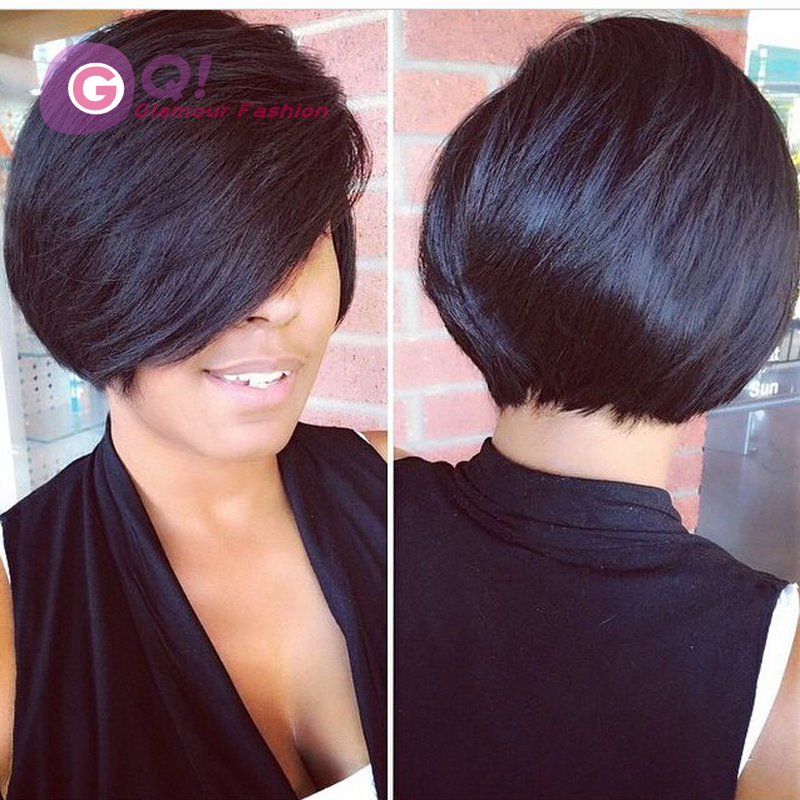 GQ New human hair bob wig with big side bangs glueless full lace wigs &amp; lace front wig short bob style for black women baby hair<br><br>Aliexpress