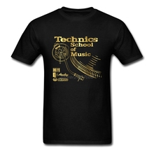 Tees Free Shipping Pre-Cotton Men Technics School Of Music Short Sleeve Shirts Low Price Men's T Shirt Slogans(China)
