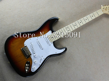 free shipping new Top quality stratocaster Guitar In vintage SUNSET Sunburst Natural wood GoldEN hardware electric guitar(China)