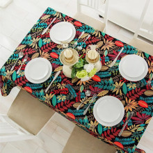 Leaves Printed Dinette Tablecloth Cotton Canvas Kitchen Table Cover for Home Restaurant Party Wedding Festival Decoration LK087
