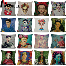 Buy Miracille Cushion Cover Frida Kahlo Women Home Sofa Decorative Throw Pillowcase Flowers Bedroom Waist Cushion Case Home Decor for $4.49 in AliExpress store