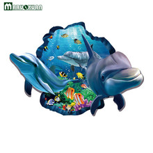 Maruoxuan 3d Dolphins Stickers Underwater World Living Room Bedroom Decor Wall Stickers Sea Aquarium Dolphins Kids Room Poster