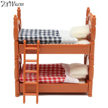 KiWarm 1 Set Miniature Dolls House Furniture Bunk Bed Figurines Ornaments for Home Kids Room Decor Toy Doll Christmas Gift(China)