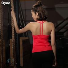 Oyoo Solid Strappy Back Skinny Yoga Tank Tops Women's Sleeveless Pink Padded Bra Sports Top Workout Gym Tights Activewear