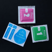 wholesale 1000set Dry Wipes+Wet Wipes+Dust Absorber Sticker Cleaning Cloth For Tempered Glass Screen Protector Tablet Camera LCD