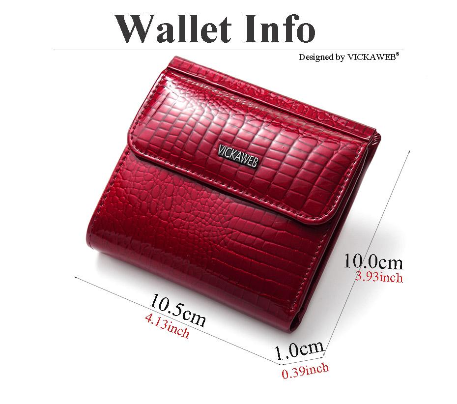 VICKAWEB Mini Wallet Women Genuine Leather Wallets Fashion Alligator Hasp Short Wallet Female Small Woman Wallets And Purses-AE209-002