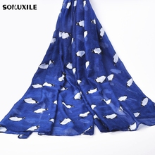 Fashion Cartoon Scarves for Women Cute Penguin Printed Spring Shawl Cotton Voile Autumn Beach Scarf Muslim Gray New Arrival 2017