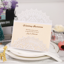10Pcs Laser Cut Invitation Cards Set for Wedding Bridal Shower Birthday Party with Envelope Card and Inner Sheet Lace Pattern