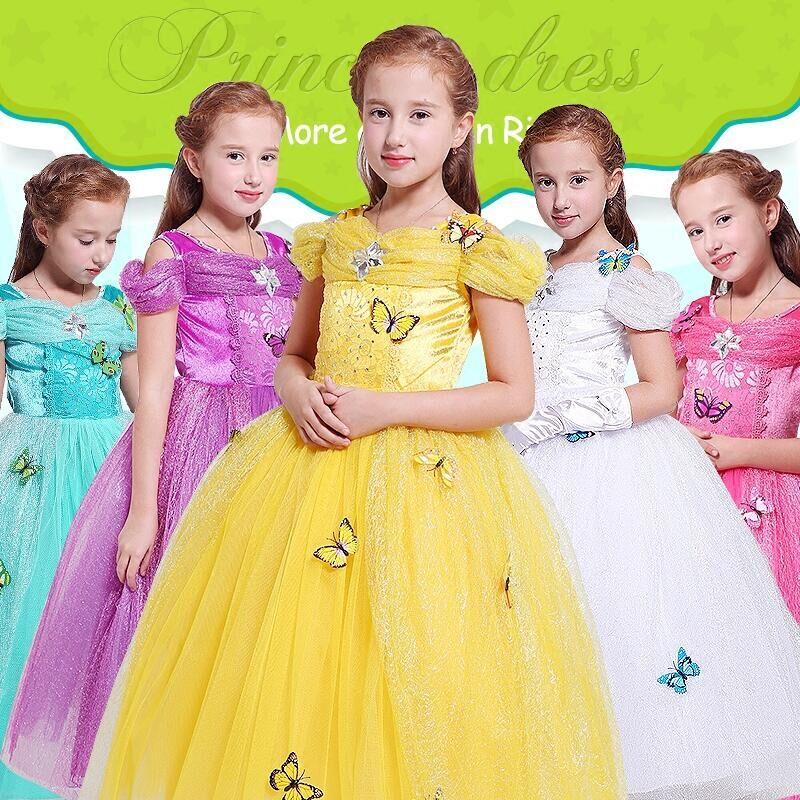 Children Girls Princess Belle Rapunzel Cinderella Sleep beauty Jasmine Dress Fantasia Vestidos Kids Cosplay Party Long Dresses <br>