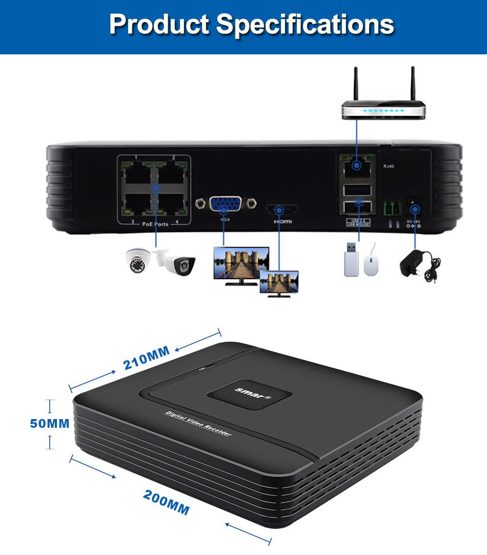 2-1-Smar Newest Mini 4CH POE NVR 1080P 2MP HDMI Full HD Network Video Recorder CCTV System For POE Camera Home Security ONVIF P2P N1004FN
