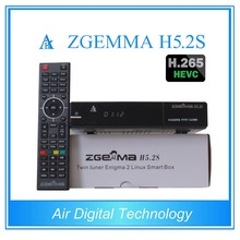 20 pcs/lot zgemma h5.2s newest Bcm73625 fastest running satellite tv receiver twin tuner dvb s/s2 support h.265 video decoding