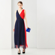2017 spring summer new women's silk clothing V collar dresses fashion look sleeveless dark navy and red plus size dress(China)