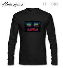 Hot Sale EL LED T shirt Long Sleeve O neck Unisex Sound Activated T-shirt Cotton Tees Tops Brand tshirt Plus size S- XXXL For DJ(China)