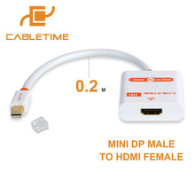 Cabletime Mini DP to HDMI Cable M/F Thunderbolt Mini DisplayPort to HDMI Adapter for MacBook Pro Air iMac 1080p projector N020(China)