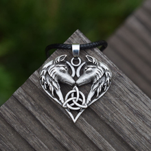Celtic Spirit Wolf Pendant Necklace Wolf Couple Heart Necklaces Love gift SanLan Jewelry(China)