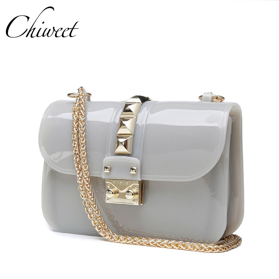 Brands Designer Clear Candy Jelly Bag 2017 Women Messenger Bags Summer Beach Mini Chain Crossbody Rivet Transparent Handbags<br>