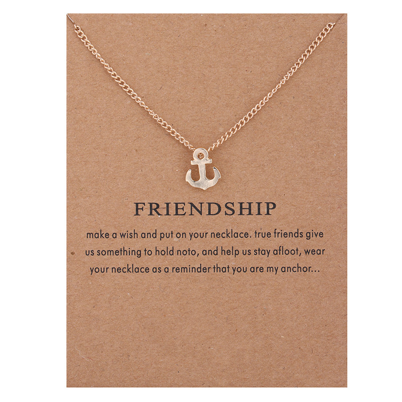 Friendship Anchor Alloy Gold-color Shorts Chains Clavicle Necklaces & Pendants New Fashion Jewelry For Women