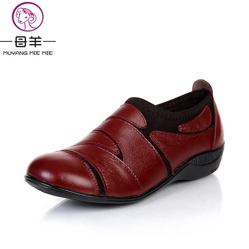 New arrive comfortable women genuine leather flat shoes woman round toe casual single work shoes women flats<br>