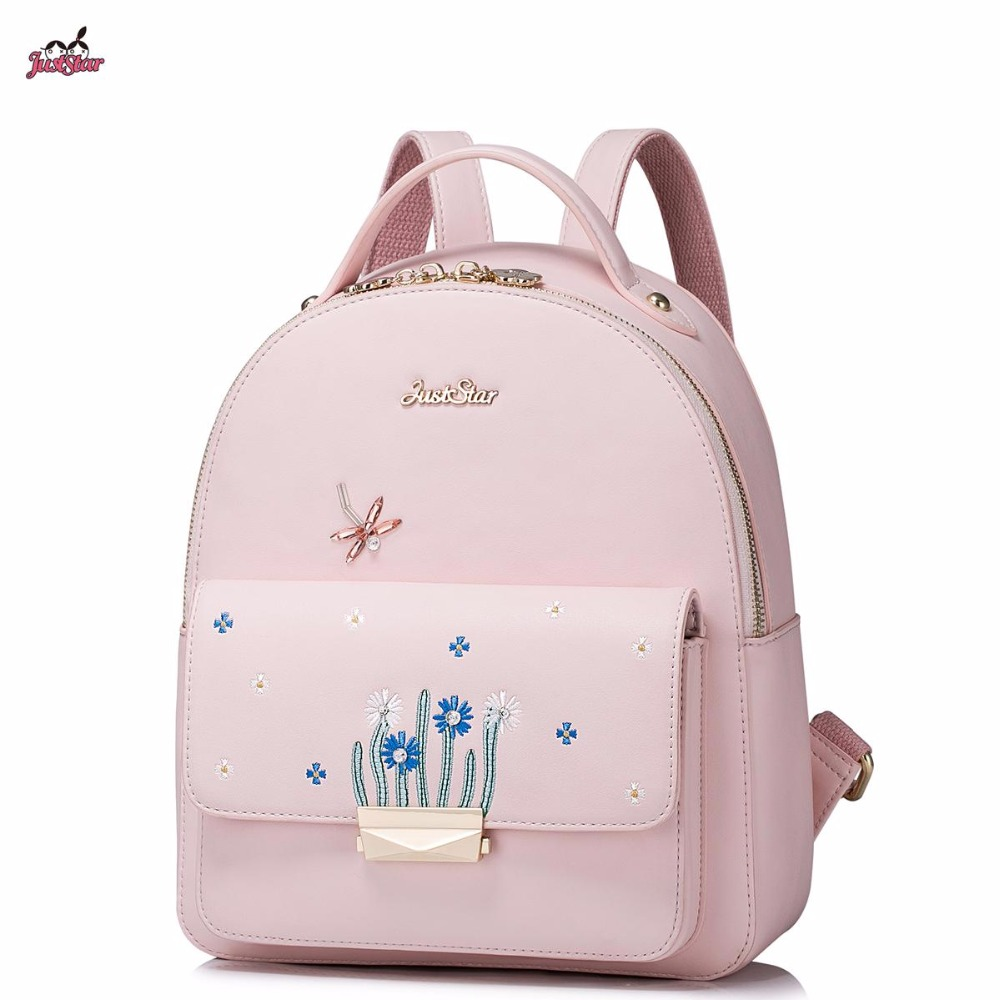 2017 New Just Star Brand Design Plants Embroidery Dragonfly PU Women Leather Ladies Girl Backpack Shoulders School Travel Bags<br><br>Aliexpress