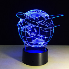 Plane Fly Earth 3D Lamp 7 Color change Remote Switch Small Night Light Colored lights Atmosphere lamp bedroom light For Gift(China)