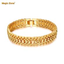 Male Bracelet Women Jewelry 12MM Pulseira Masculina Trendy Gold Color Chunky Chain Link Bracelet Wholesale pulsera hombre P166