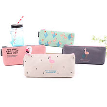 2017 hot teenager flamingo cosmetic bags Zip canvas Fabric Pencil Case Ideal For School College Uni Make Up(China)