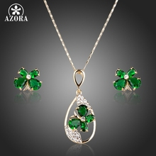 AZORA Gold Color Green CZ Butterfly Stud Earrings and Pendant Necklace Jewelry Sets TG0127