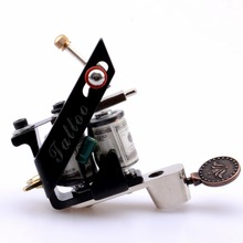 New Professional Tattoo Machine 10 Warps Coils Cast Iron Black Tattoo Gun For Beginner Shader Liner