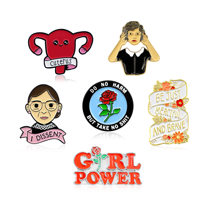 Feminism Brooch Uterus Do What you Want to do Rose GIRL POWER I DISSENT Female Inspirational Enamel Pin Badge Feminist Gifts