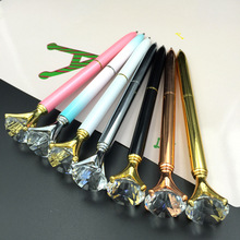 1PCS Kawaii Ballpoint Pen Big Gem Metal Ball Pen With Large Diamond Blue And Black Magical Pen Fashion School Office Supplies(China)