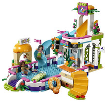 Lepin 01013 Friends Series Heart Lake City Summer Swimming Pool Building Bricks Friends For Girl LegoINGlys 41313 Toys
