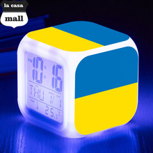 Brand la casa mall digital alarm clock Flag of Ukraine reloj despertador LED Color Flash Digital alarm clock drop ship+Gift Box