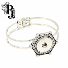 Rhinestone Snaps Snap Charm Silver Tone Hinged Snap Button Bracelet Bangle Chunky Interchangeable Metal SJSB1269
