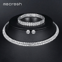 Mecresh Silver Color Circle Crystal Bridal Jewelry Sets African Beads Rhinestone Wedding Necklace Earrings Bracelet Sets 3TL002(China)