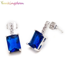 Yunkingdom white Gold Color Stud Earrings Blue CZ Crystal  jewelry Square lovely Earrings for Women H0303