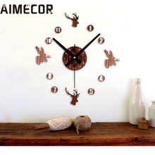 Fashion Retro 3D DIY Wall Clock Pastoral Deer Home Decoration Art Clock 2017 New Fashion 17APr30(China)