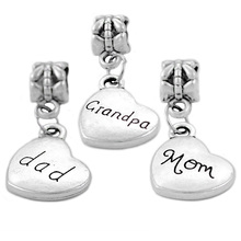 New Silver Plated Bead Charm Love Heart Mom Son Daughter Sister Pendant Beads Fit Pandora Bracelet Bangle DIY Jewelry HKW0587