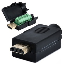 HDMI Plug Breakout Terminals Solderless Connector Mounting 2 Row 19 Pin With Black Plastic Cover Male For Computer Mayitr(China)