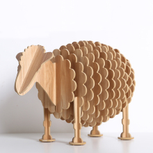 1 set  10*12*18 Inch Creative Wood Crafts Ornaments Wooden DIY Sheep Artwork For Home and Office Desk Decoration TOM002M
