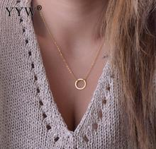 YYW Sold By Bag 3Strands 15.5 Inch Zinc Alloy Jewelry Necklace Sexy Jewelry Circle Donut Round  Gold-color oval chain Necklace