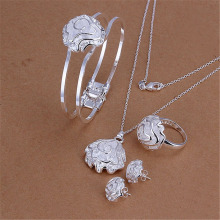 Selling silver plated jewelry set fashion classic temperament Rose flower pendant necklace bangles ring Stud Earrings S322
