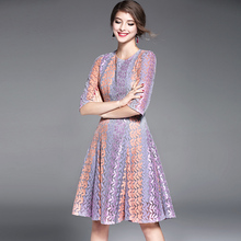 New Spring Lavender Lace Dress Women Gradient Purple Blue Fashion O-Neck Knee-Length High Quality Clothing