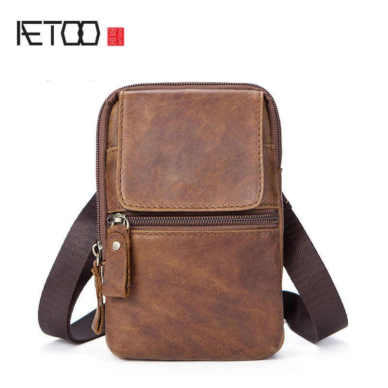 414aa620a665 AETOO кожаная мужская сумка ретро Мужская сумка через плечо маленькая сумка  crazy horse модная мужская сумка