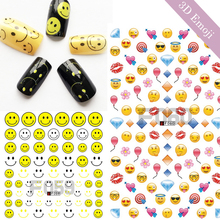 1 Sheets Smiles Face Yellow Emoji DIY Stencils 3D Nail Sticker Nail Art Decals Manicure Pedicure Cute Nail Art Tips TRF059-060(China)