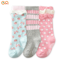 3Pairs/lot Newborn Toddler knee high sock Girl Baby Cute anti slip Socks Children fashion Cotton socks For 0-2 yrs Kids gifts CN