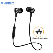 AKASO V4.2 Sport Wireless Bluetooth Headphone Earphone Headset With Microph adsorbable magnet Non-slip For Outdoor Ear Phone