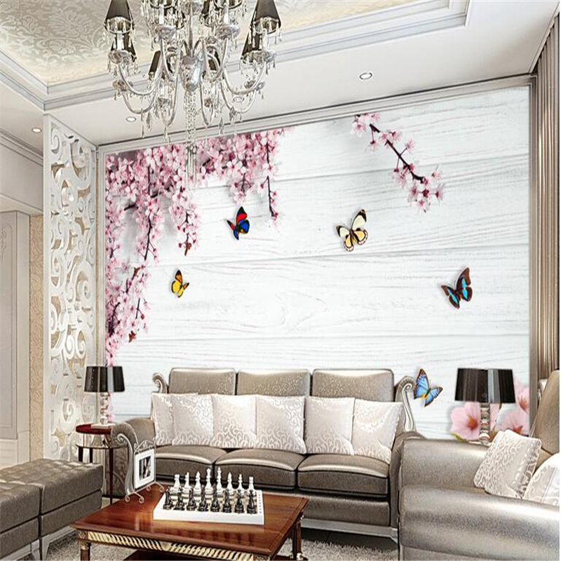 Custom photo wallpaper mural wall stickers romantic cherry butterfly wood board 3d background wall painting papel de parede<br><br>Aliexpress